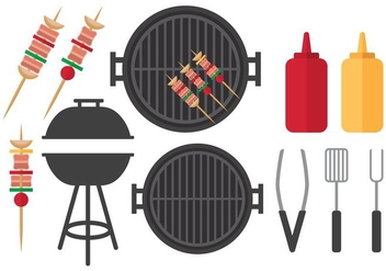 Flat Barbecue Set - бесплатный vector #383169