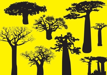 Silhouette Baobab Trees - Free vector #383179