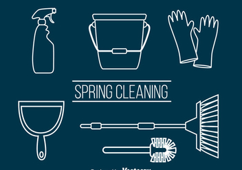 Spring Cleaning Outline Vector - vector gratuit #383389