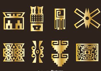 Golden Incas Icons Vector - vector #383559 gratis
