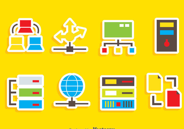 Computer Network Icons Vector - vector gratuit #383609
