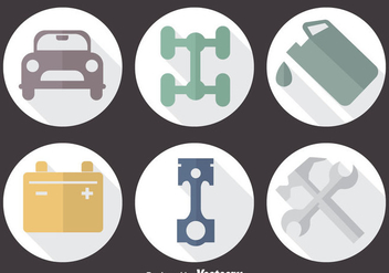 Car Service Circle Icons - vector #383759 gratis