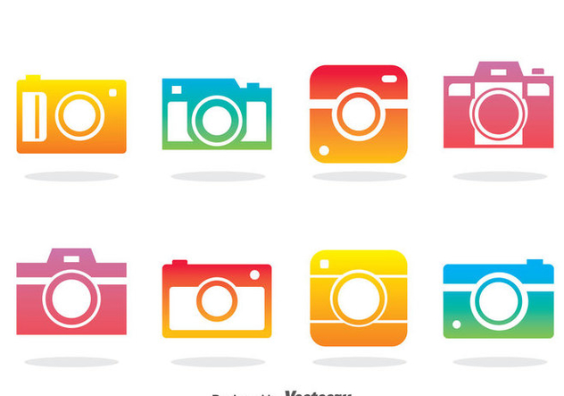 Camera Colorful Icons Vector - vector gratuit #383919