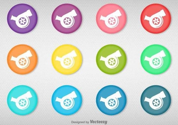Vector Set Of Colorful Buttons With Turbocharger Icon - Kostenloses vector #384029
