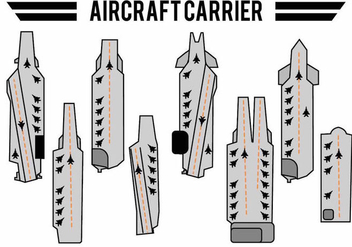 Flat Aircraft Carrier Icon Set - Kostenloses vector #384039