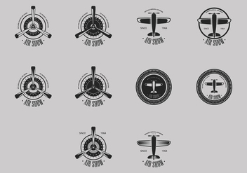 Biplane Logo Icon Set - бесплатный vector #384059