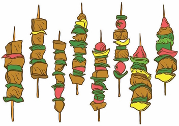 Free Hand Drawn Brochette Illustration Set - vector gratuit #384119