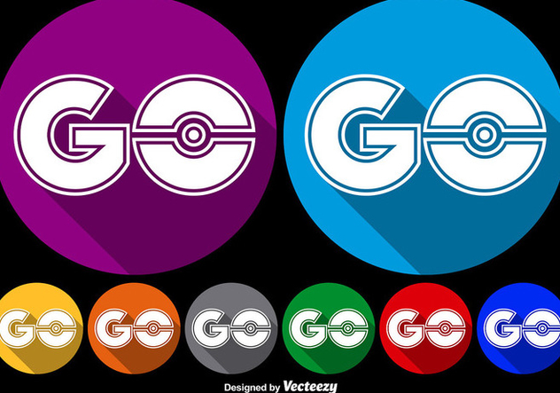 Vector Flat Go Symbol Icons For Pokemon Game - бесплатный vector #384179