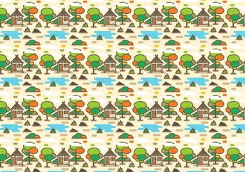Rural Shack with Lake Pattern Vector - vector gratuit #384239