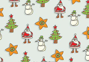 Hand Drawn Christmas Seamless Background - vector gratuit #384309