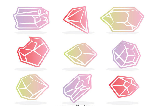 Colorful Crystal Vector Set - Kostenloses vector #384319