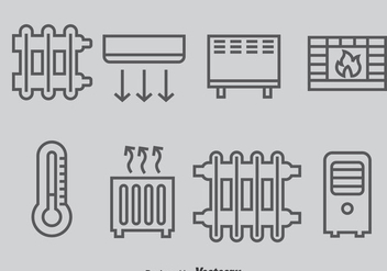 Heating And Cooling System Icons Vector - vector gratuit #384439