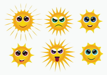 Sun Smiley Icons Vector - vector gratuit #384489