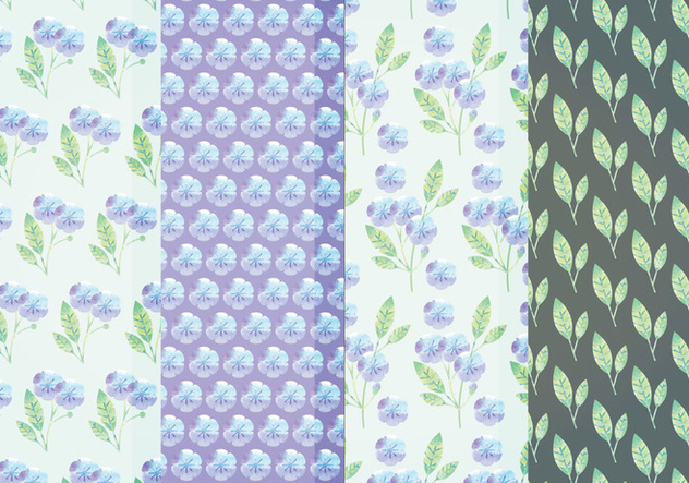 Vector Blue Floral Patterns - Kostenloses vector #384749