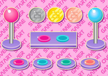 Arcade Button Girly Vector Set - бесплатный vector #384809