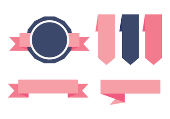 Blue and Pink Sash Etiquetas Vectors - Free vector #384909