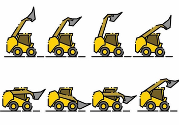 Minimalist Skid Steer Icon Set - vector gratuit #384989