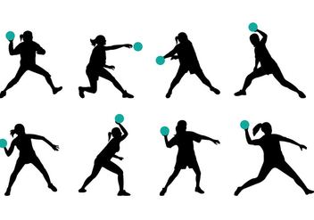 Silhouette Of Dodgeball Player - vector gratuit #385019