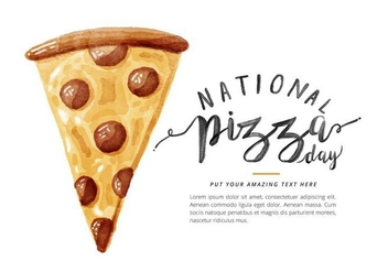 Free National Pizza Day Watercolor Vector - vector gratuit #385279