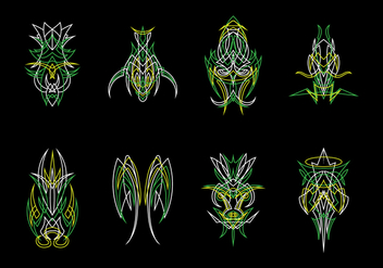 Green Ornamental Pinstripes Vector - vector gratuit #385309
