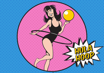 Free Girl With Hula Hoop Vector Illustration - Free vector #385559