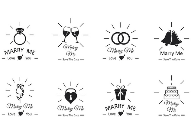 Set Of Marry Me Vector - Kostenloses vector #385669