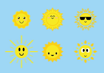 Cute Sun Icons Vector - бесплатный vector #385799