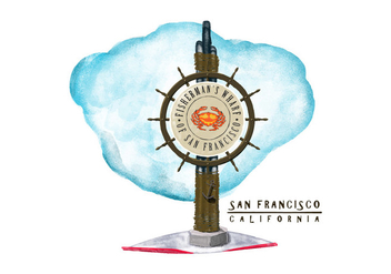 Free San Francisco Watercolor Vector - vector gratuit #385829