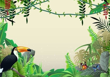 Beautiful Illustrations Of Tropical Jungle And Liana - vector gratuit #386359