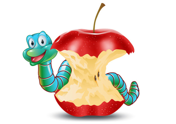 Cute Earthworm with Eaten Apple Vector - Free vector #386449