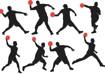 Dodgeball Silhouette with Ball Vectors - Free vector #386589