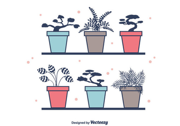 Potted Plants Vector - vector gratuit #386639