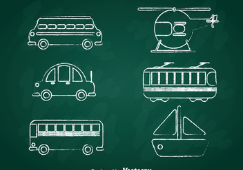 Transportation Chalk Draw Icons Set - vector gratuit #386719