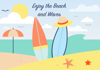 Free Summer Surfing Vector Background - бесплатный vector #386749