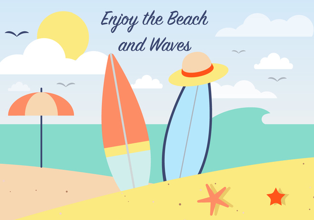 Free Summer Surfing Vector Background - Kostenloses vector #386749