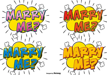 Comic Style Marry Me Text Illustrations - Free vector #386759