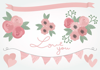 Vector Pink Love Floral Elements - бесплатный vector #386769