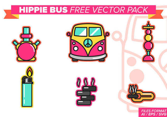 Hippie Bus Free Vector Pack - Free vector #386839