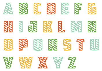 Striped Letras Vector Pack - Free vector #386899