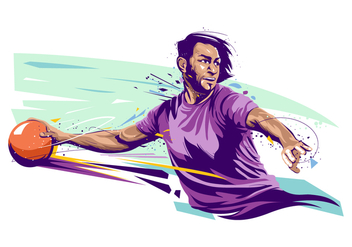 Dodgeball Player Illustration - Free vector #387459