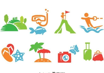 Vacation Icons Vector - Free vector #387589