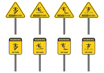 Warning Sign For Wet Floor - vector gratuit #387729