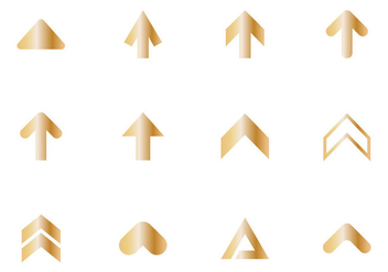 Free Golden Arrow Icon Vector - Free vector #387959