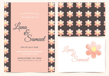 Pink Flower Vector Wedding Invite - Free vector #388169