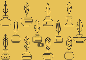 Ink Pot And Feather Icons - vector #388219 gratis