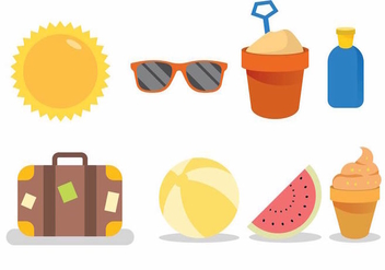 Beach Theme Icon Set - бесплатный vector #388229