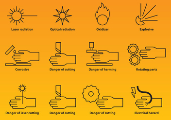 Industry Warning Icons - vector #388259 gratis