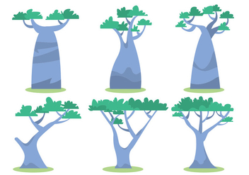 African Tree Vector Set - vector gratuit #388329