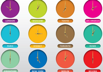 Clocks Of Cities - бесплатный vector #388359