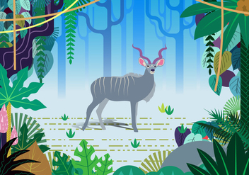 Kudu Jungle Vector Scene - vector gratuit #388399